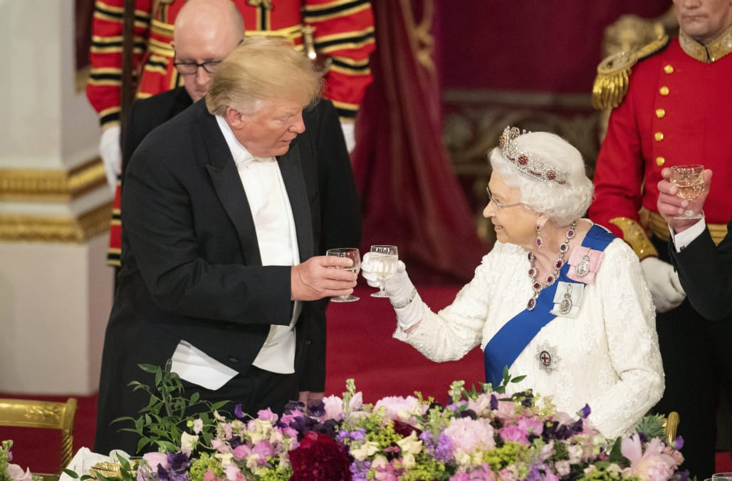 Image result for donald trump photo toasting the queen