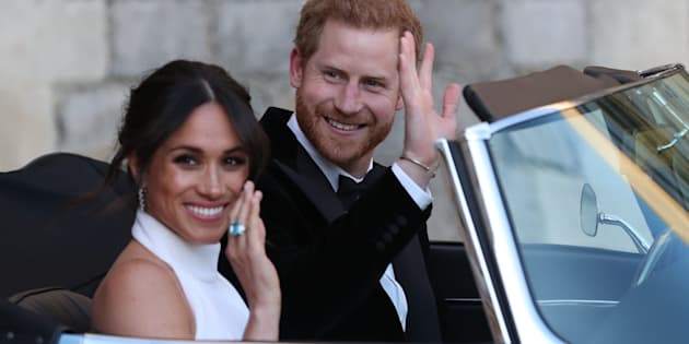 Los recién casados duques de Sussex, tras la ceremonia de su boda.