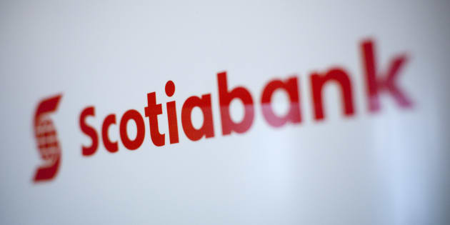 A Scotiabank logo is pictured at the company's annual general meeting in Kelowna, B.C., April 8, 2014. A new forecast from the bank says Canada is at heightened risk of a recession in the next several years.