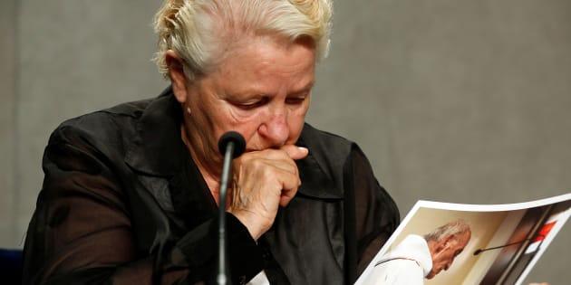 Roselyne Hamel, la soeur de Jacques Hamel, en conférence de presse le 14 septembre.