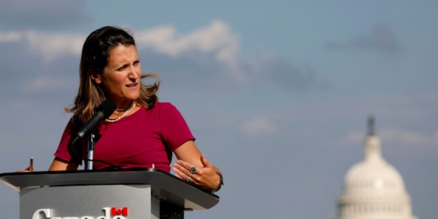 Chrystia Freeland speaks at a news conference in Washington on  Aug. 16, 2017.
