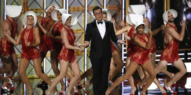 Host Stephen Colbert opens the 69th Primetime Emmy Awards Show, Los Angeles, California, Sept. 17, 2017. (REUTERS/Mario Anzuoni)