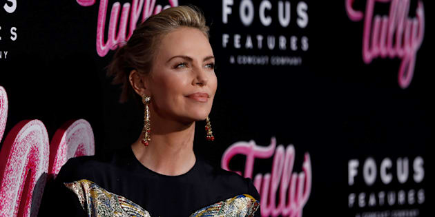 "Charlize Theron poses at the premiere for ""Tully"" in Los Angeles April 18, 2018."