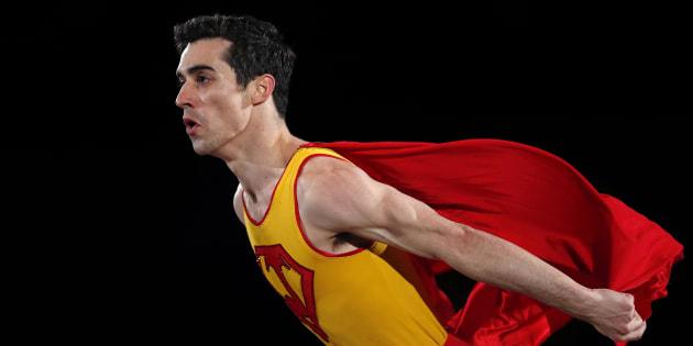 フィギュアスケート・エキシビションで、コミカルな演技を披露したハビエル・フェルナンデス選手=2月25日