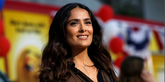 """Cast member Salma Hayek poses at the premiere for the movie """"Sausage Party"""" in Los Angeles, California U.S., August 9, 2016.   REUTERS/Mario Anzuoni"""