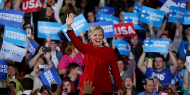 U.S. Democratic presidential nominee Hillary Clinton addresses supporters at the Grand Valley State University Fieldhouse in Allendale, Michigan November 7, 2016.  REUTERS/Rebecca Cook