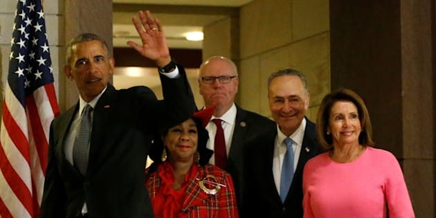(L-R) U.S. President Barack Obama arrives to meet with congressional Democrats, including Representative Frederica Wilson (D-FL), Representative Joe Crowley (D-NY), Senate Minority Leader Chuck Schumer (D-NY) and House Minority Leader Nancy Pelosi (D-CA), at the U.S. Capitol in Washington, U.S. January 4, 2017. REUTERS/Jonathan Ernst