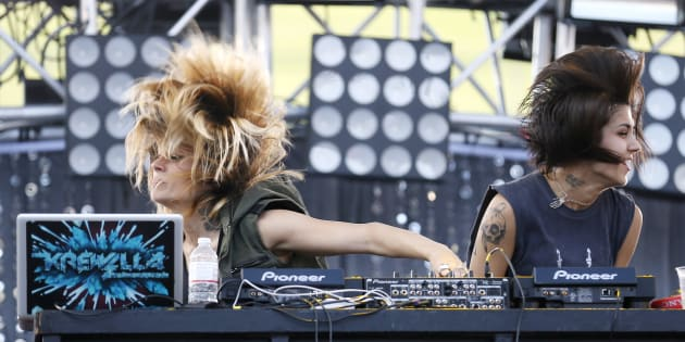 Jahan Yousaf (L) and Yasmine Yousaf of the U.S. electronic dance music group Krewella perform at the 2013 Wango Tango concert at the Home Depot Center in Carson, California.