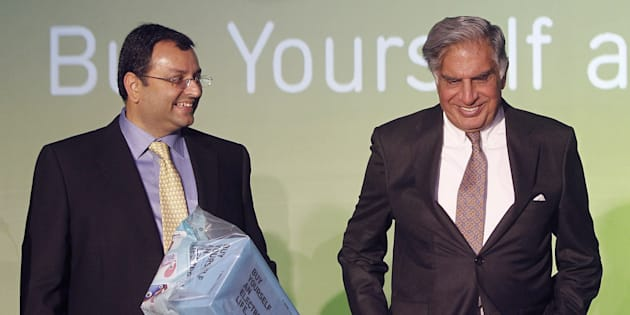 File photo: Tata Group Chairman Ratan Tata and Deputy Chairman Cyrus Mistry attend the launch of a new website for tech superstore Croma, managed by Infiniti Retail, a part of the Tata Group, in Mumbai, India April 23, 2012. REUTERS/Vivek Prakash/File Photo