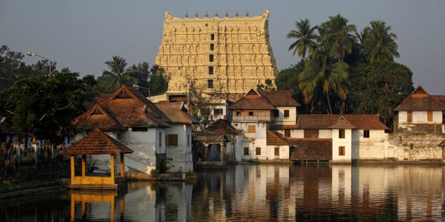 A view of Sree Padmanabhaswamy temple in Thiruvananthapuram, capital of the southern Indian state of Kerala, February 20, 2012. The documentation of the treasure unearthed at the famed Sree Padmanabhaswamy temple last year began Monday morning with a joint meeting of the two committees appointed by the Supreme Court. The temple is believed to have a treasure trove of precious jewels which is estimated to be worth more than Rs.one lakh crore, making it the richest temple in the world, the Hindustan Times reported on Monday. REUTERS/Danish Siddiqui (INDIA - Tags: SOCIETY RELIGION)