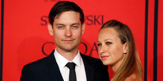 Actor Tobey Maguire arrives with Jennifer Meyer at the 2013 Council of Fashion Designers of America (CFDA) awards in New York June 3, 2013.  REUTERS/Lucas Jackson (UNITED STATES - Tags: FASHION ENTERTAINMENT)