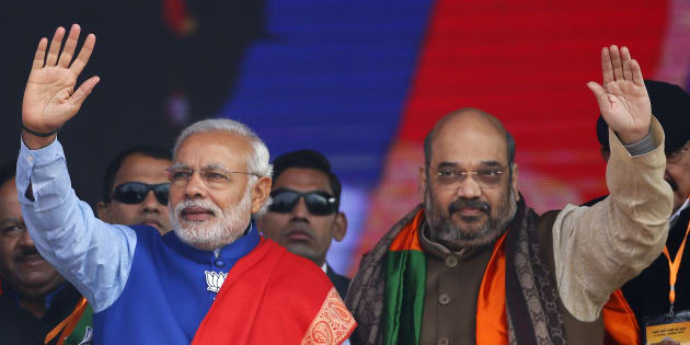 File photo of Indian Prime Minister Narendra Modi (L) and Amit Shah, the president of India's ruling Bharatiya Janata Party (BJP).