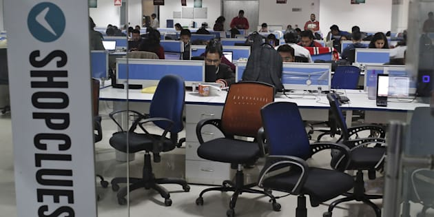 Employees of Shopclues.com, an online marketplace, work inside their office in Gurgaon.