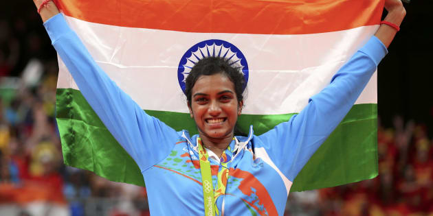 Silver medallist P.V. Sindhu of India.