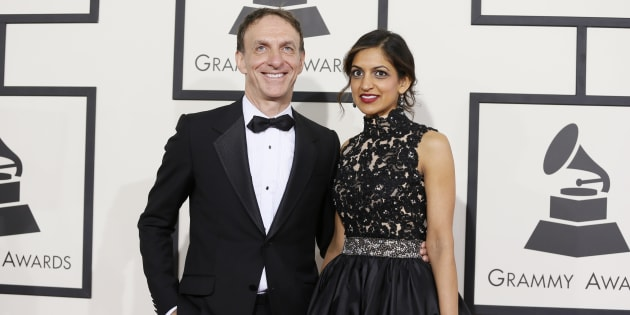 Film composer Mychael Danna and his wife Aparna Bhargava arrive at the 56th annual Grammy Awards in Los Angeles, California January 26, 2014.