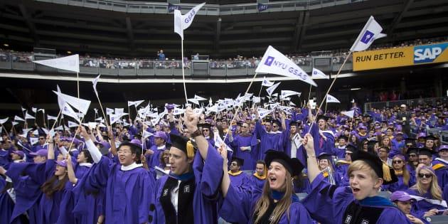 Des étudiants de l'université de New York au Yankee Stadium