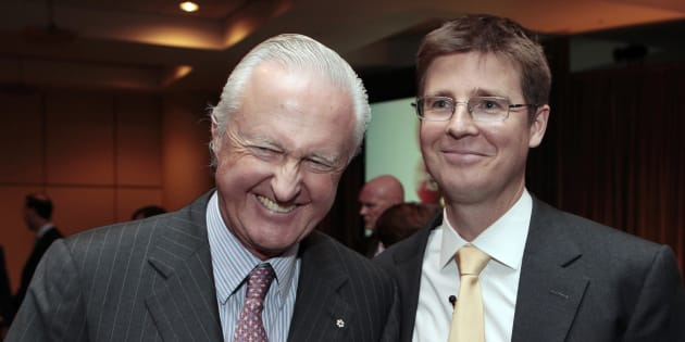 Galen G. Weston stands with his father W. Galen Weston, left, after the Loblaw annual general meeting for shareholders in Toronto, May 5, 2010. The Weston family is the second-wealthiest family in Canada.