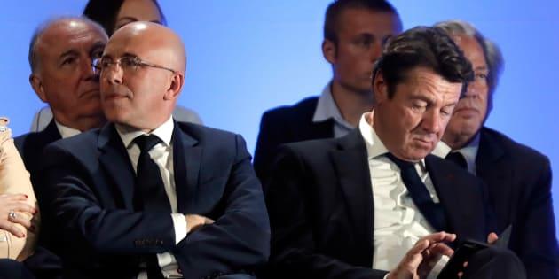 Eric Ciotti (à gauche) a largement remporté la présidence de la fédération LR des Alpes-Maritimes face aux soutiens de Christian Estrosi.