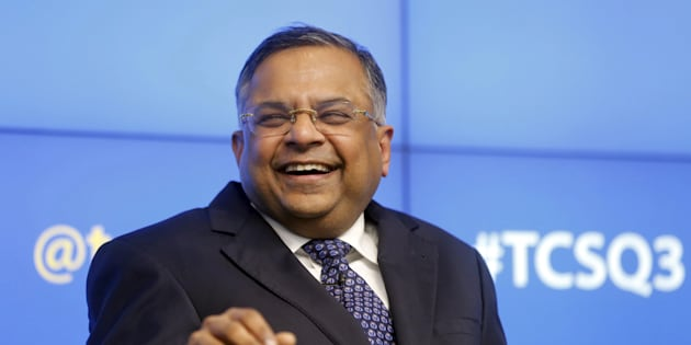 Tata Consultancy Services (TCS) Chief Executive N. Chandrasekaran gestures as he speaks during a news conference in Mumbai, India, January 12, 2016.