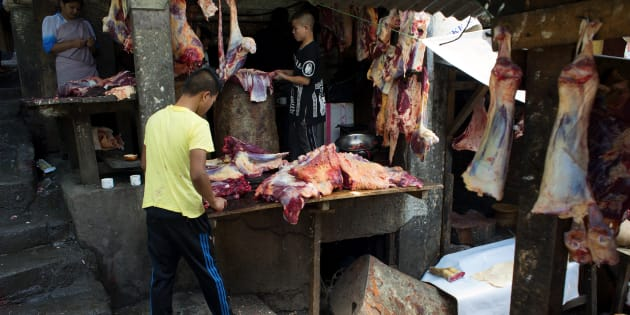 Beef is being sold at Lewduh Bazar in Shillong, Meghalaya.