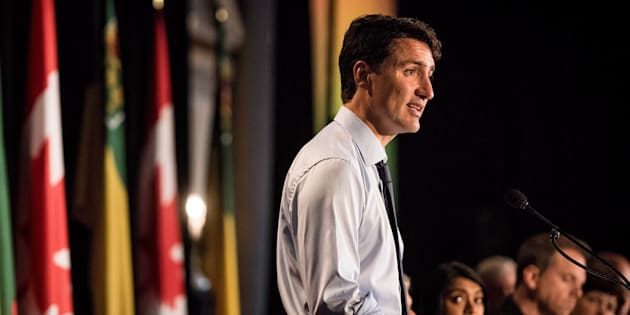 Prime Minister Justin Trudeau addresses the Liberal Party National Caucus meeting in Saskatoon on Sept. 12, 2018.