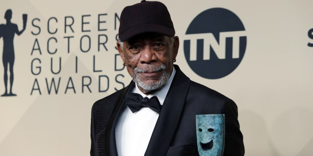 Morgan Freeman poses with the 54th annual Screen Actors' Guild Life Achievement Award.