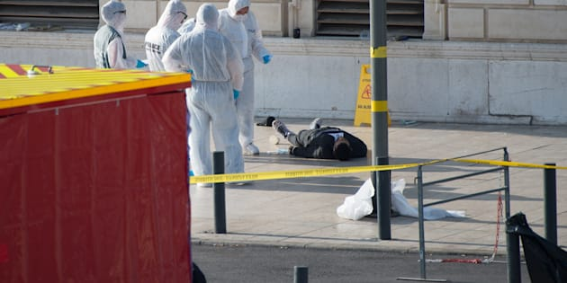 Crime scene of Marseille's attack in Front of the Gare Saint Charles Train station, after a man armed with a knife killed two people before being shot by soldiers patrolling the area. (Photo by Clement Mahoudeau/IP3/Getty Images)