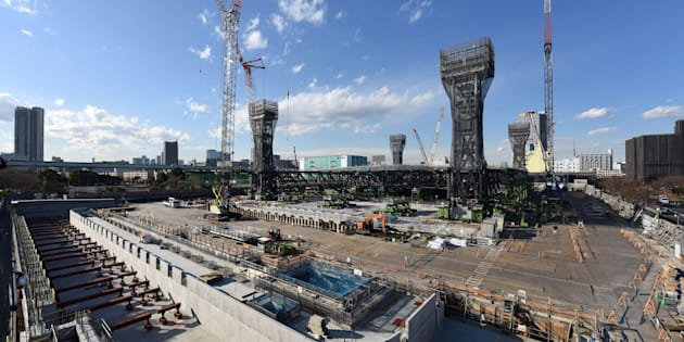 This picture shows a general view of the construction site for the Tokyo 2020 venue 'Olympic Aquatics Center' in Tokyo on February 6, 2018.  The new facility will host Aquatics (Swimming, Diving, Synchronised Swimming) during the 2020 Tokyo Olympic Games. And also the Paralympic Games will hold swimming events.  / AFP PHOTO / Kazuhiro NOGI        (Photo credit should read KAZUHIRO NOGI/AFP/Getty Images)