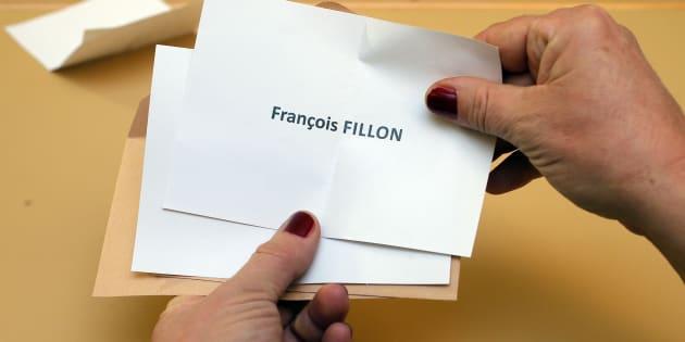 un bulletin de vote pour François Fillon lors du premier tour de la primaire de la droite (illustration)