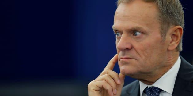 Donald Tusk, durante un reciente debate en el Europarlamento, en Estrasburgo (Francia).