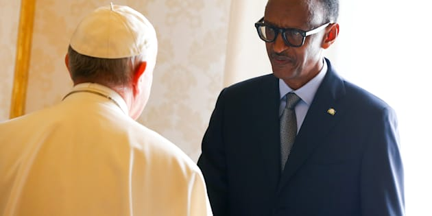 Rwanda's President Paul Kagame greets Pope Francis during a private meeting at the Vatican.