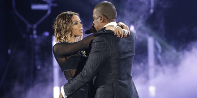 """Beyonce and  Jay-Z  perform """"Drunk In Love"""" at the 56th annual Grammy Awards in Los Angeles, California January 26, 2014.   REUTERS/ Mario Anzuoni  (UNITED STATES  TAGS:ENTERTAINMENT) (GRAMMYS-SHOW)"""