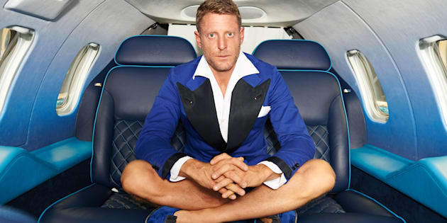 MILAN, ITALY - JUNE 27: Lapo Elkann posing with the Learjet 31 'Nel Blu Dipinto Di Blu? unveiled At Linate SEA Prime on June 27, 2016 in Milan, Italy. (Photo by Guido De Bortoli/Getty Images)
