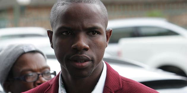 """Lethebo """"Doom pastor"""" Rabalago appears at the Limpopo High Court on January 30, 2017 in Polokwane, South Africa. The Limpopo provincial department of health brought an urgent application for the court to interdict Rabalago and members of his Mount Zion General Assembly church in Zebediela from spraying people with Doom."""