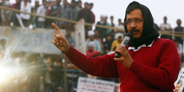 Arvind Kejriwal addressed a campaign rally ahead of state assembly elections in New Delhi.