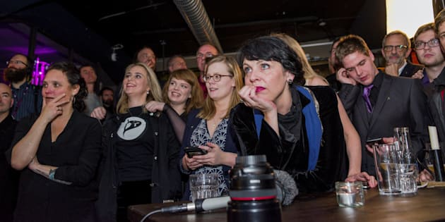 Birgitta Jonsdottir of the Pirate Party is seen alongisde party members after parliamentary elections in Iceland, October 29, 2016.