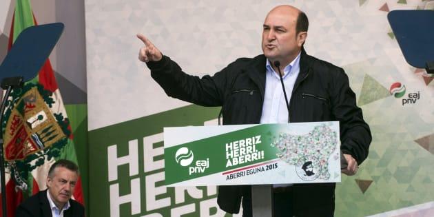 Andoni Ortuzar, presidente del EBB (Ejecutiva del PNV), en el Aberri Eguna (Day of the Basque Nation) en Bilbao.