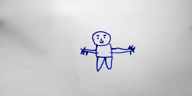 A drawing by Gays Cardak, 6, a Syrian refugee boy.