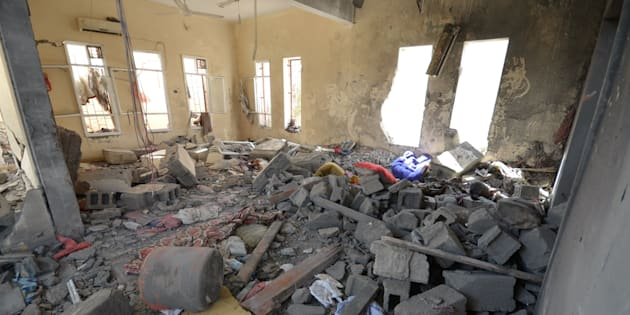 A view of a prison struck by Arab coalition warplanes in al-Zaydiyah district of the Red Sea port city of Hodeidah, Yemen October 30, 2016.