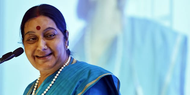 India's Foreign Minister Sushma Swaraj at the India Africa business forum in New Delhi.