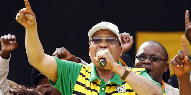 Former president Jacob Zuma sings and dances during the Party official launch of the Municipal Elections manifesto on April 16, 2016 in Port Elizabeth, South Africa.
