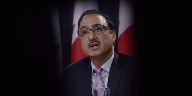 Natural Resources Minister Amarjeet Sohi addresses a news conference in Ottawa on Oct.3, 2018.