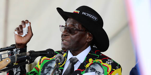 President Robert Mugabe speaks to supporters gathered to celebrate his 93rd birthday at Matopas near Bulawayo, Zimbabwe, February 25, 2017. REUTERS/Philimon Bulawayo