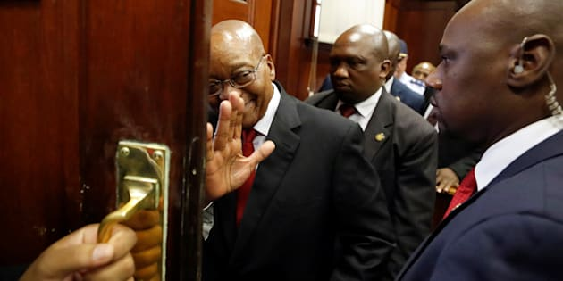 Former South African president Jacob Zuma departs from the KwaZulu-Natal High Court, in Durban, South Africa April 6, 2018.