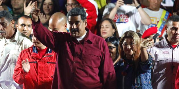 Nicolas Maduro devant ses supporters à Caracas le 20 mai 2018.