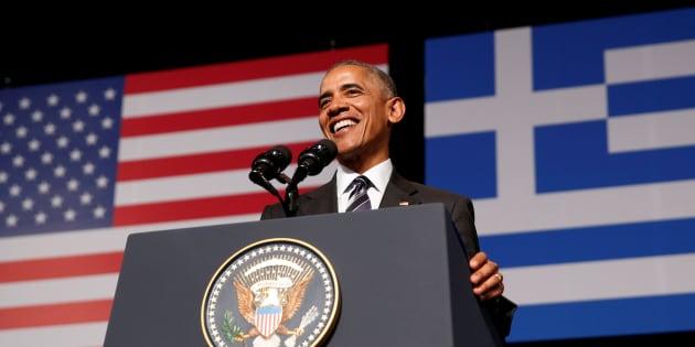 Barack Obama à Athènes (illustration)