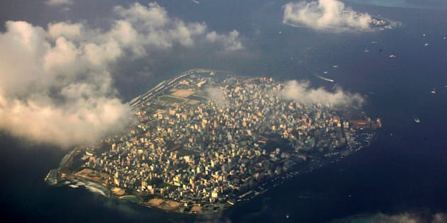 Aerial view of Maldives capital Male.