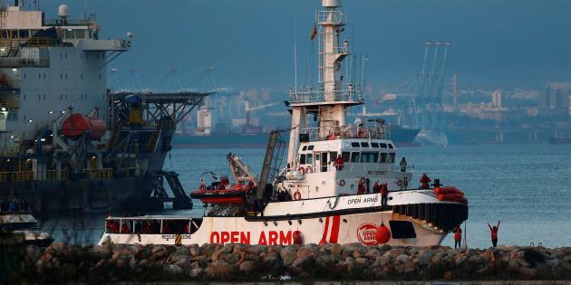 El barco de Proactiva Open Arms, a su llegada a puerto.