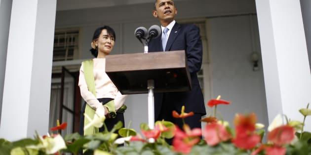 En 2012, le président Barack Obama a reçu Aung San Suu Kyi, récipiraire du prix Nobel de la Paix, à la Maison-Blanche.