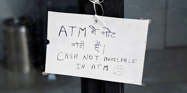 A notice is displayed outside an ATM counter in Ajmer, India November 28, 2016. REUTERS/Himanshu Sharma
